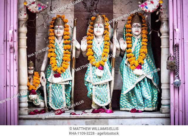 Hindu statues at a temple in Lucknow, Uttar Pradesh, India, Asia