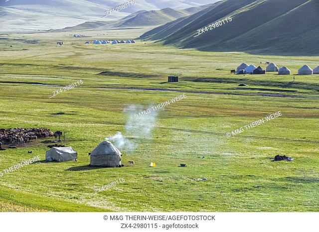 Nomad yurt camp, Song Kol Lake, Naryn province, Kyrgyzstan, Central Asia