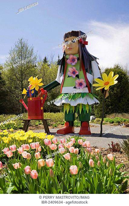 A tall native girl like doll stands next to a patch of pink and yellow tulips in the Greeting garden at the Route des Gerbes d'Angelica garden at springtime