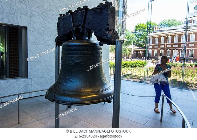 Philadelphia Pennsylvania ILiberty Bell in ndependence Hall famous historical building for our USA Constitution with tourists taking pictures