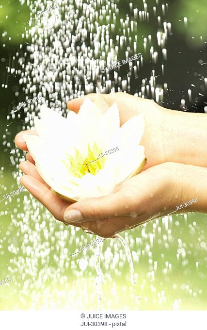 Close-up of young woman holding flower under dripping water outdoors