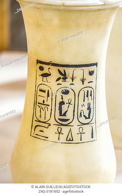 Egypt, Cairo, Egyptian Museum, from the tomb of Yuya and Thuya in Luxor : Vase in alabaster, with the cartouches of king Amenhotep III and queen Tiyi