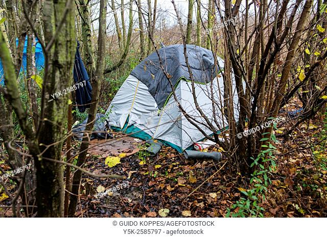 Calais, France. Tent and shed situated between the bushes of The Jungle, a camp for migrants and refugees bound for the UK