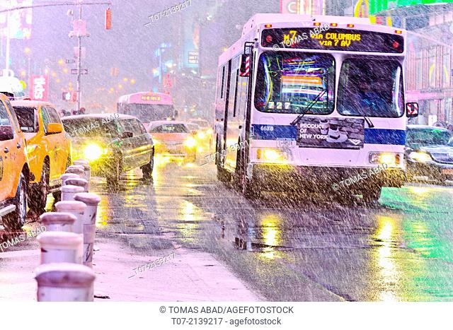 MTA M7 bus, mass transit, public transportation, Times Square during January 2, 2014 winter storm, 42nd Street vicinity, Times Square, Midtown Manhattan