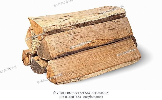 Stack of firewood rotated isolated on white background