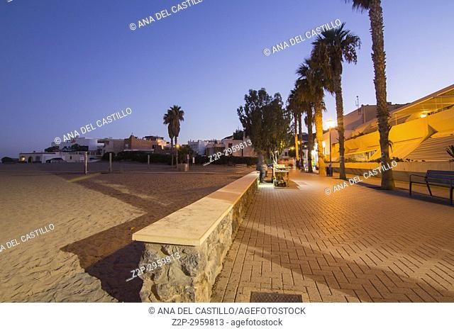 San Jose village by dusk in Cabo de Gata, Almeria, Spain