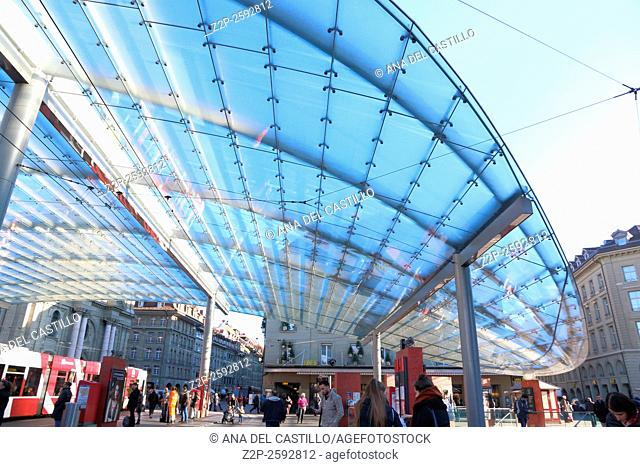 Glass roof close to central railway station on December 7, 2015 in Bern, Switzerland