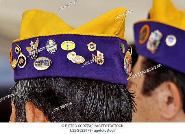 Naha, Okinawa, Japan: Lions Club hats at the Haarii Dragon Boat Festival