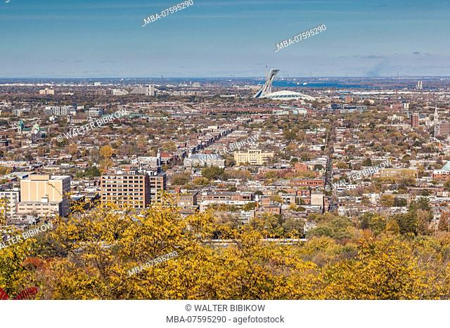 Canada, Quebec, Montreal, elevated city skyline from Mount Royal with Olympic Stadium, autumn