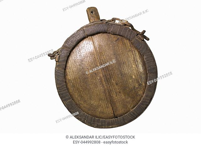 Vintage Wooden Canteen With Rusty Chain. Iron Banded