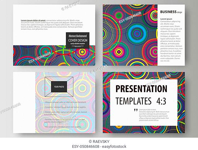 Set of business templates for presentation slides. Easy editable abstract vector layouts in flat design. Bright color background in minimalist style made from...