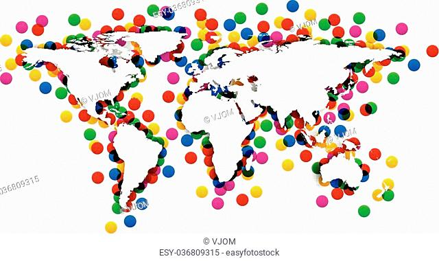 World map with shadow and confetti. Vector illustration