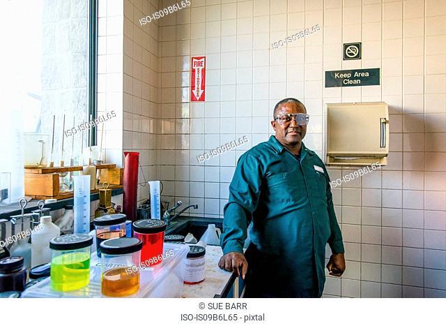 Portrait of lab technician in biofuel plant laboratory