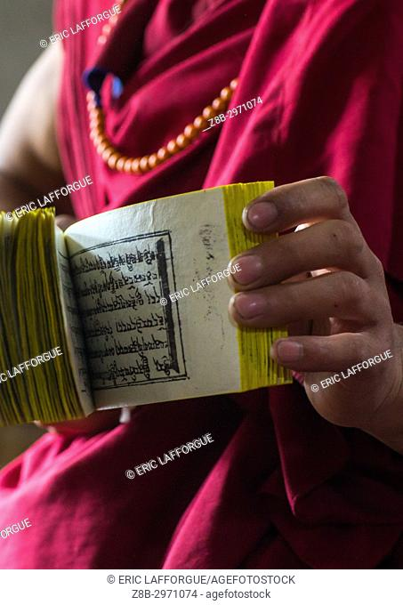 Monk showing some tibetan scriptures printed from wooden blocks in the monastery traditional printing temple, Gansu province, Labrang, China