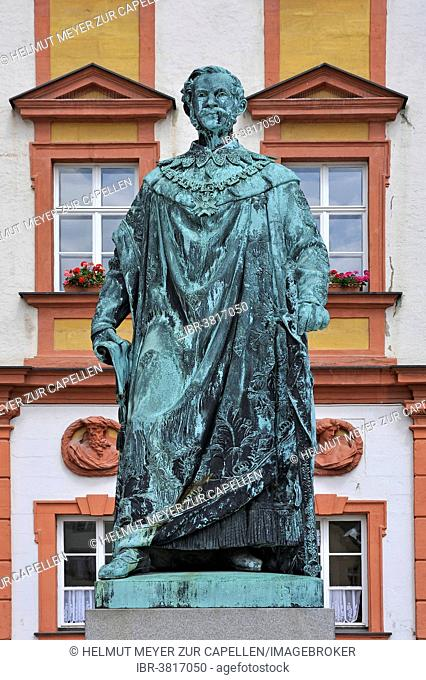 Monument of Maximilian II of Bavaria, in front of the Altes Schloss castle, Bayreuth, Bavaria, Germany