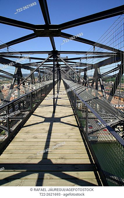 Portugalete (Basque Country) Spain. Structure and upper walkway of Suspension Bridge Portugalete