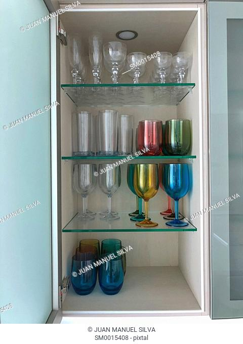Kitchen cabinet with drinking glasses