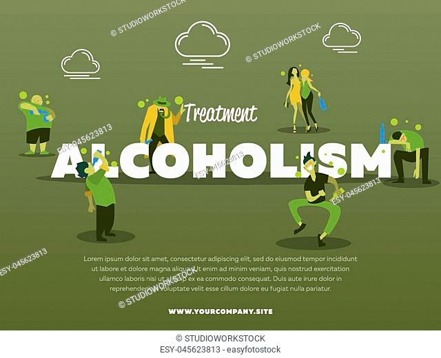 Treatment alcoholism banner with drunk alcoholic vector illustration. Alcohol abuse, alcoholism in family, man and woman with alcohol bottle concept