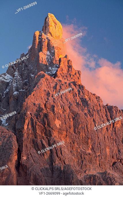 Rolle pass, Paneveggio-Pale of San Martino natural park, Dolomites, Trentino-Alto Adige. Cimone dela Pala at sunset from Segantini refuge