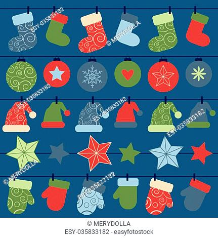 vector christmas design decorations hanging on rope. EPS
