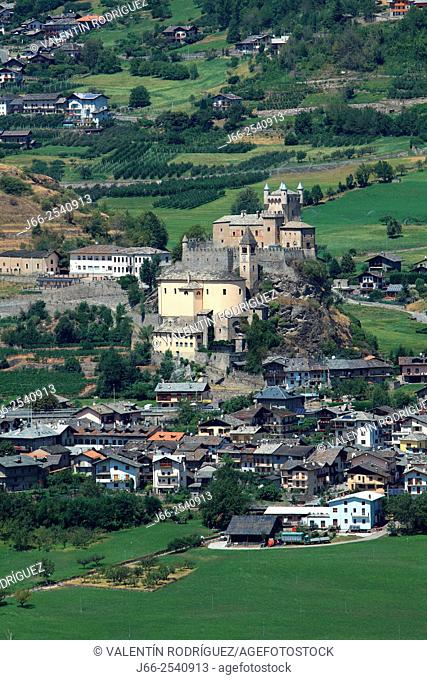 Castle de Saint-Pierre in the Aosta valley. Italy