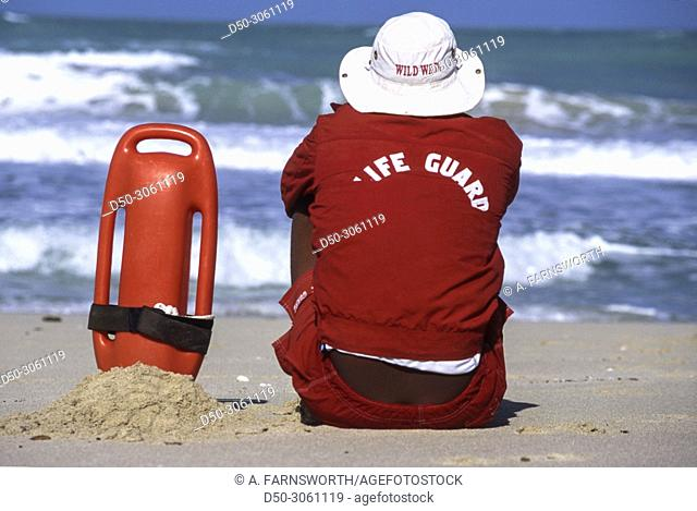 Dubai, UAE. Life guard on the beach with rolling waves