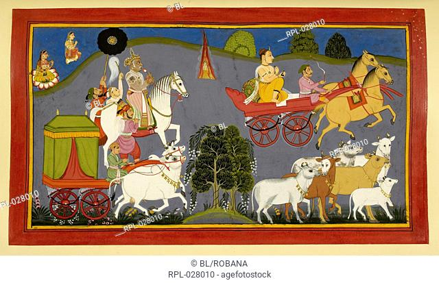 Dasaratha and Rishyasringa set out on their journey, the sage in a chariot, the King on horseback, and Santa and the queens in a purdah ox-cart