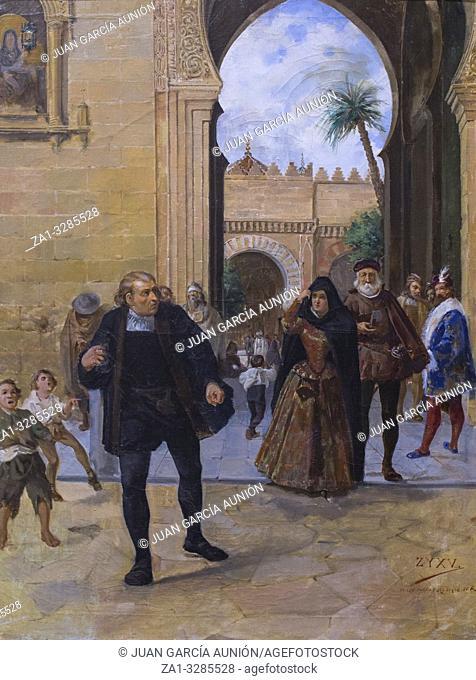 Cordoba, Spain - Dec 12th, 2018: Columbus leaving Cordoba Mosque by Rafaael Romero de Torres. Fine Arts Cordoba Museum