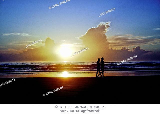 Sunrise Walk Along Sea Shore,