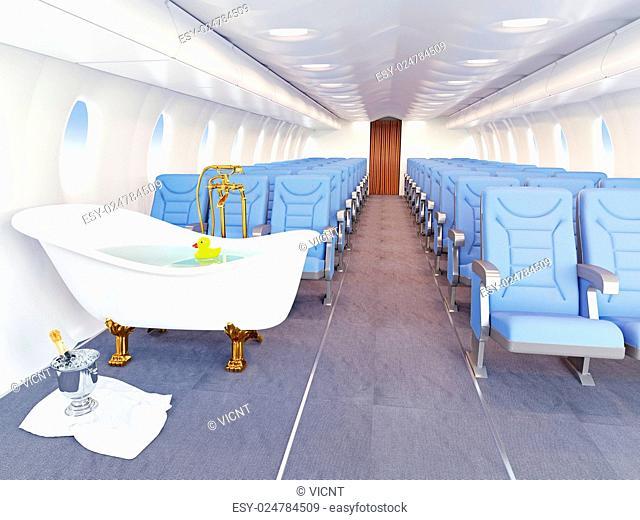 luxury bathtube in airplane cabin. 3d creativity concept