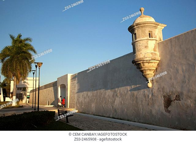 People and the sea gate in the historic town of Campeche, Campeche, Yucatan, Mexico, Central America