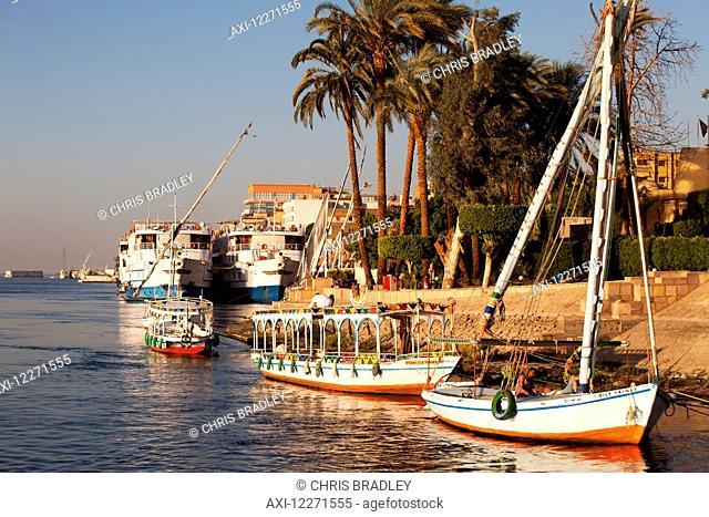 Feluccas on the Nile, outside Sheraton Hotel; Luxor, Egypt