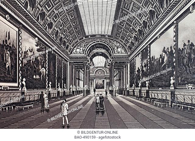 Versailles, La Galerie des Batailles, southern wing, historic copper-plate etching from 1860
