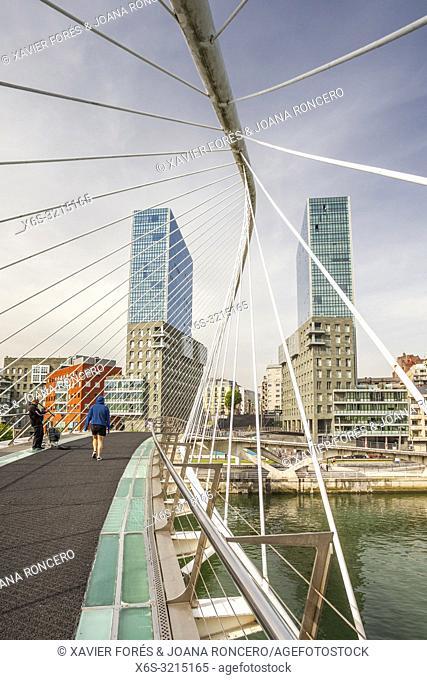 Calatrava Bridge, also called Zubizuri Bridge, Bilbao, Spain