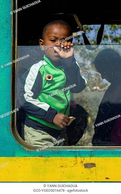 The train at Sahambavy station, railways between Sahambavy and Fianarantsoa, Madagascar