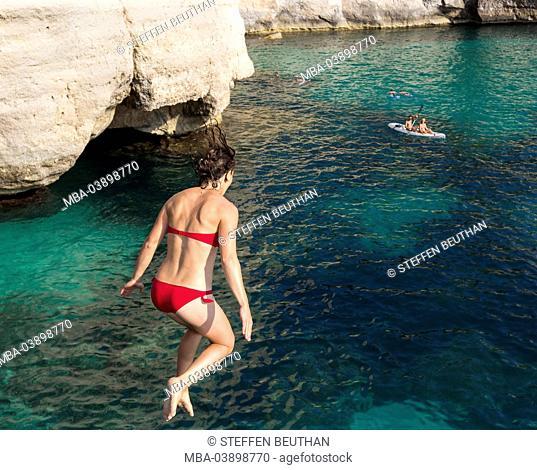 A Jump of the cliff, Cala Mitjana, south coast of the island Menorca, Balearic Islands, Spain