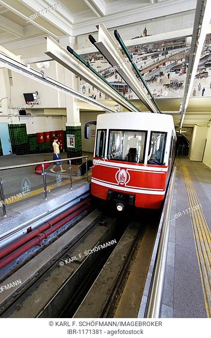 Tuenel underground funicular, the second oldest underground railway in the world, modern cars, station Istiklal Caddesi, Beyoglu, Istanbul, Turkey
