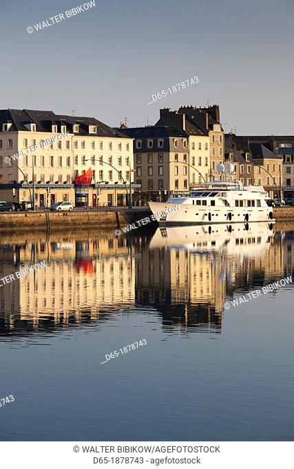 France, Normandy Region, Manche Department, Cherbourg-Octeville, yacht in the Bassin du Commerce basin, dawn