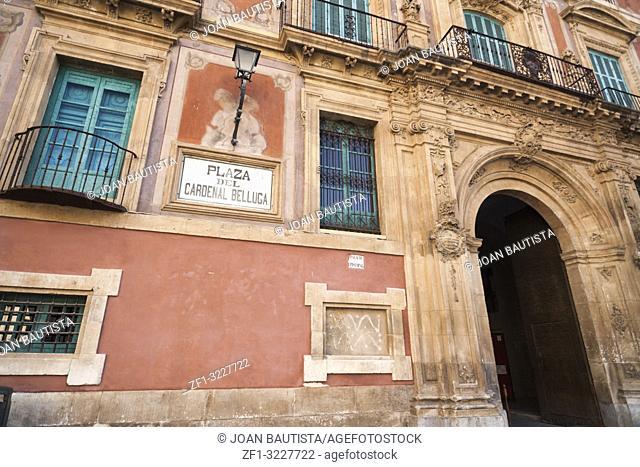 Historic building,palace,palacio episcopal,baroque-rococo style,main facade square Belluga,Murcia,Spain