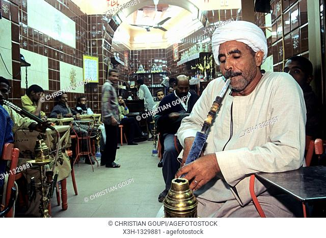 man smoking hooka in a cafe, Aswan, Egypt, Africa