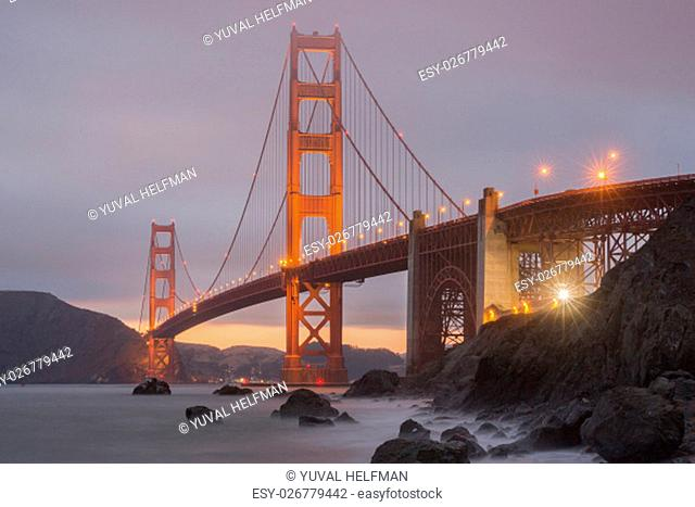 Lights and Fog on the world's ninth longest suspension bridge