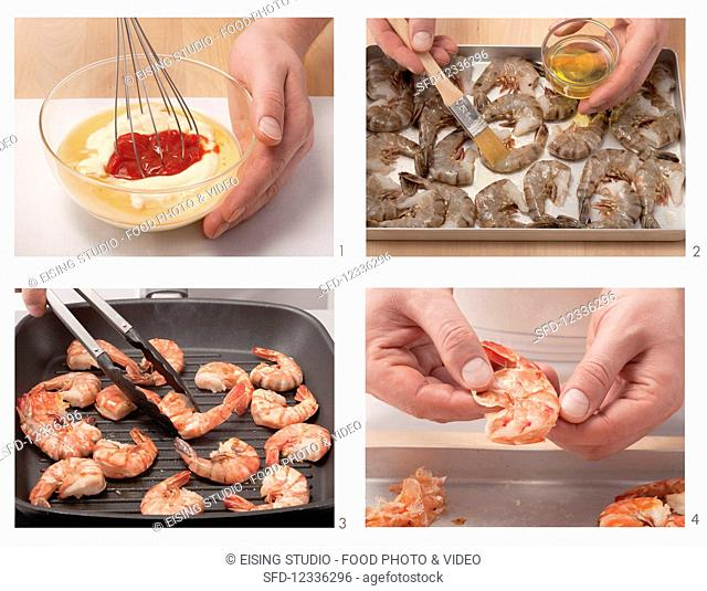 King prawns with cocktail sauce being made