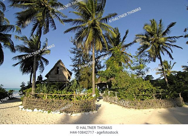 Tanzania, Zanzibar, Indian Ocean, Africa, East Coast, Jambiani, small hotel, beach, coast, sea, bungalow, palm trees
