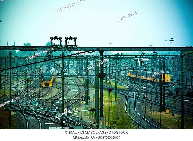 Trains leaving Rotterdam, Holland