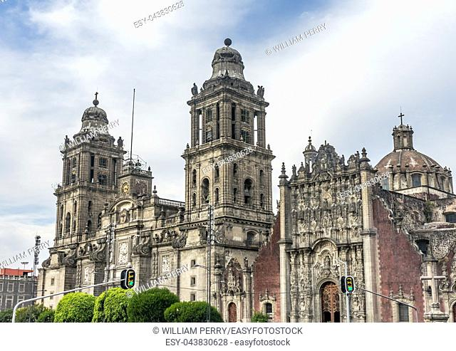 Metropolitan Cathedral and President's Palace in Zocalo, Center of Mexico City Mexico Afternoon