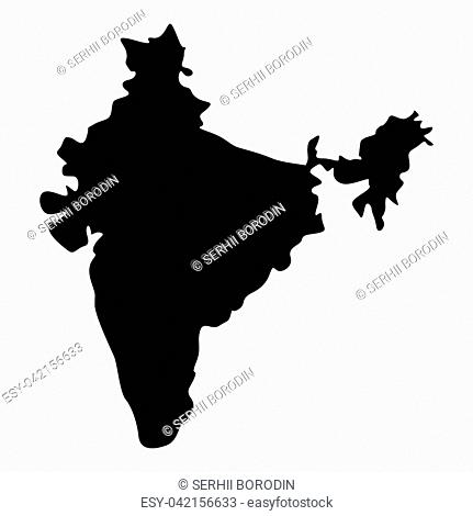 Map of India icon black color vector illustration flat style simple image