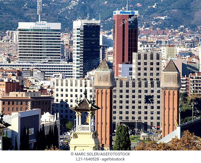 Cityscape: buildings in Plaça d'Espanya, Barcelona, Catalonia, Spain