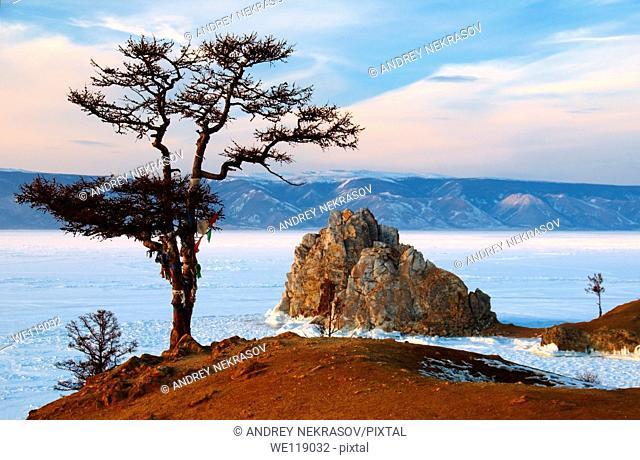 Mountain Shamanka, Shaman, Olkhon island, Lake Baikal, Siberia, Russia, Eurasia