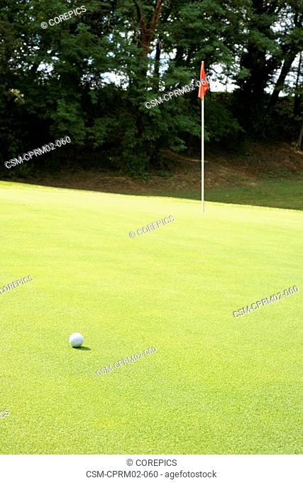 Golf ball on the a Green near the hole with a severe slant in the manicured grass