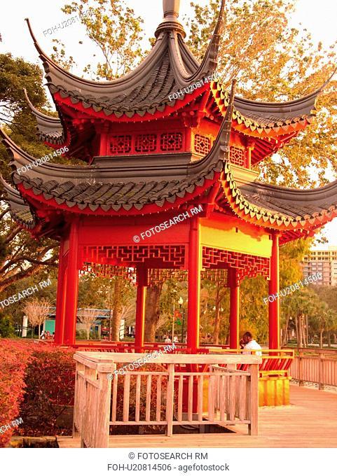 Orlando, FL, Florida, Lake Eola Park, Chinese Ting Gazebo Pagoda